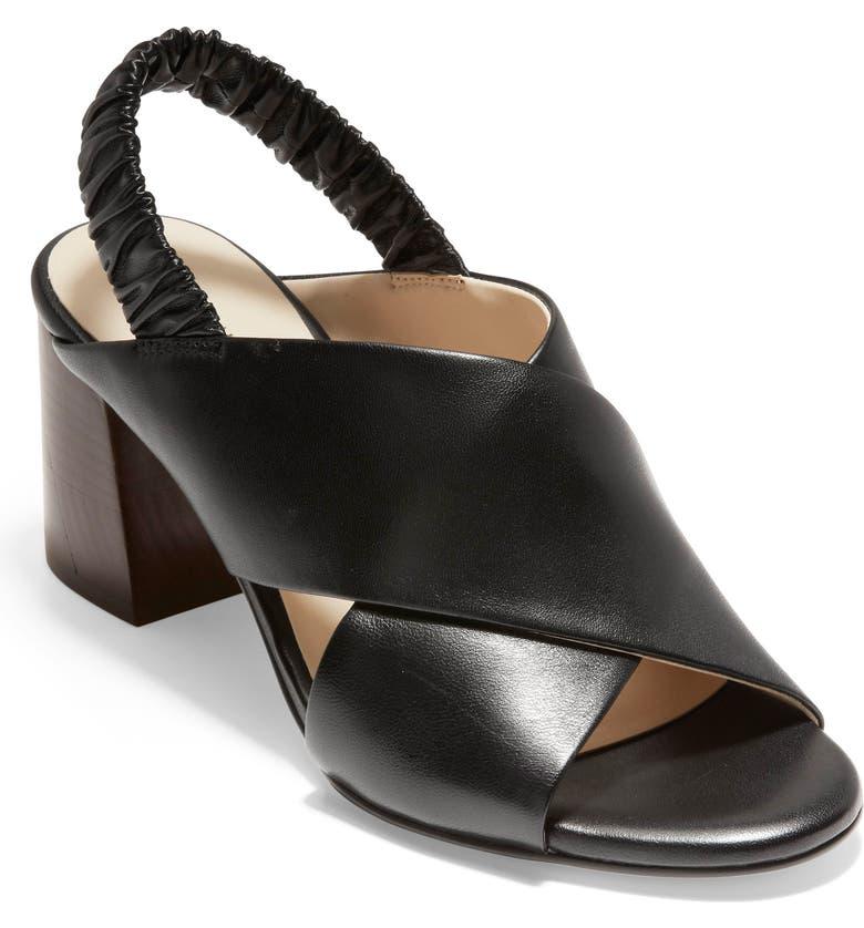 COLE HAAN Anastasia Slingback Sandal, Main, color, BLACK LEATHER