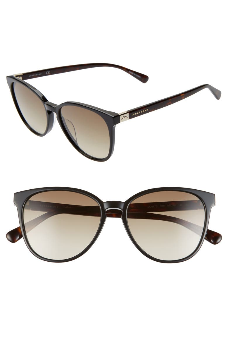LONGCHAMP Le Pliage 53mm Gradient Cat Eye Sunglasses, Main, color, BLACK HAVANA/ KHAKI