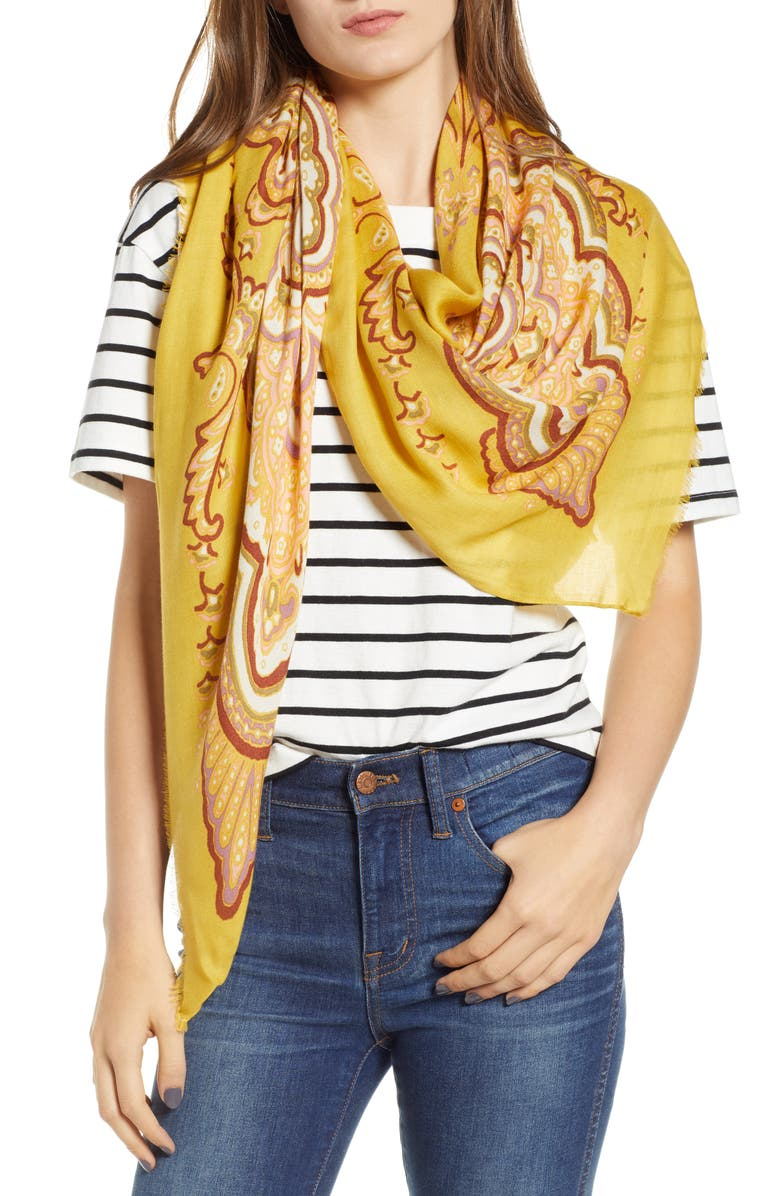 MADEWELL Oversized Paisley Square Scarf, Main, color, 600