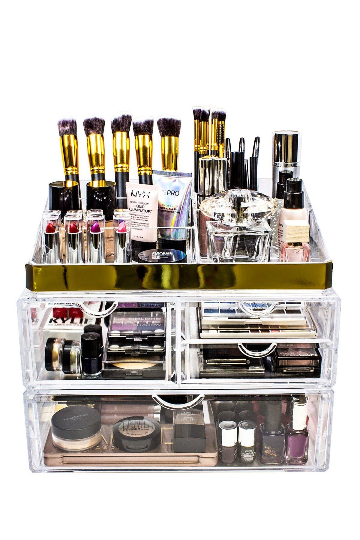 Image of Sorbus X-Large Two Piece Makeup Storage Organizer - Gold
