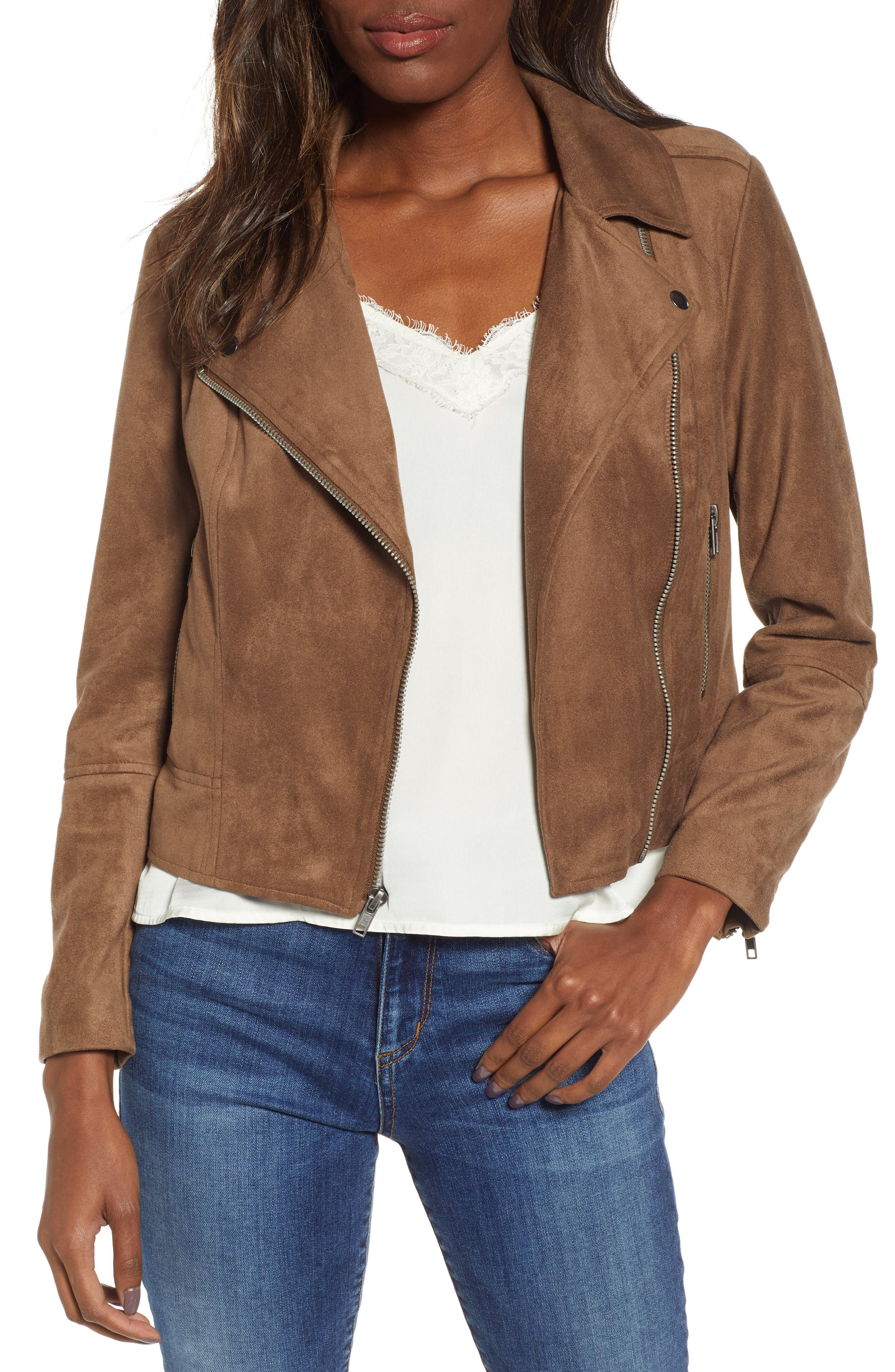 ,                             Not Your Baby Faux Suede Moto Jacket,                             Main thumbnail 1, color,                             MOCHA