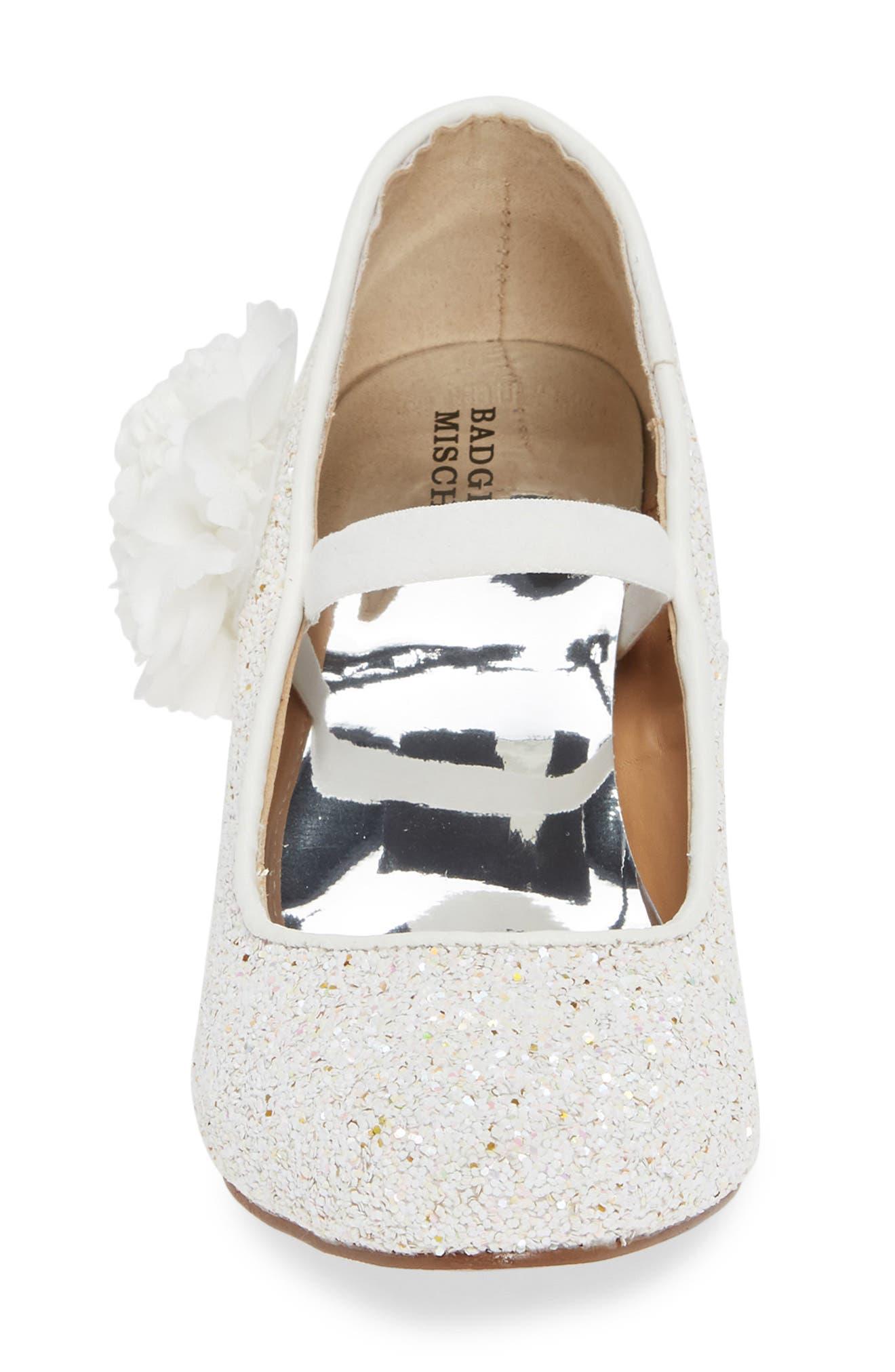 ,                             Badgley Mischka Kylie Flower Glitter Pump,                             Alternate thumbnail 4, color,                             WHITE IRIDESCENT GLITTER
