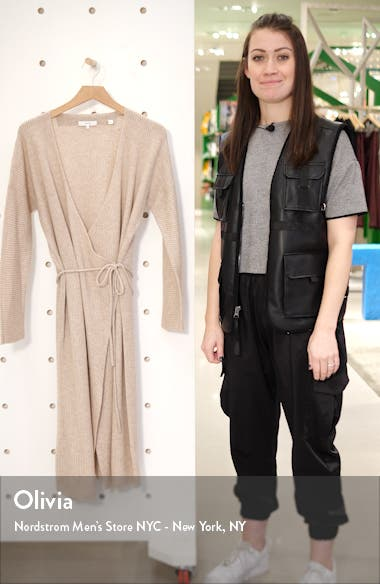 Ribbed Wrap Long Sleeve Wool & Cashmere Midi Dress, sales video thumbnail