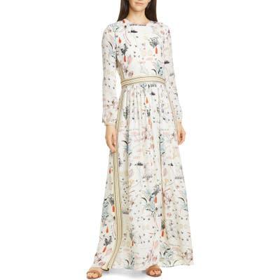 Tory Burch Patchwork Print Long Sleeve Silk Maxi Dress
