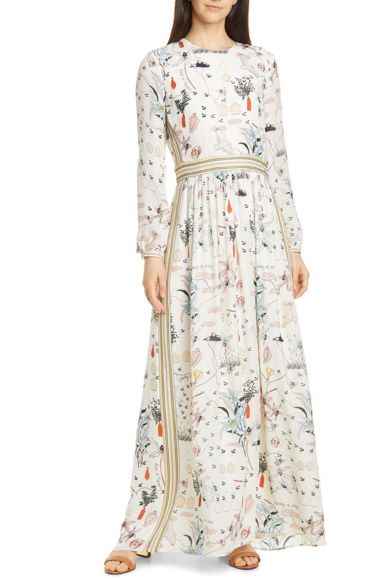 Patchwork Print Long Sleeve Silk Maxi Dress by Tory Burch