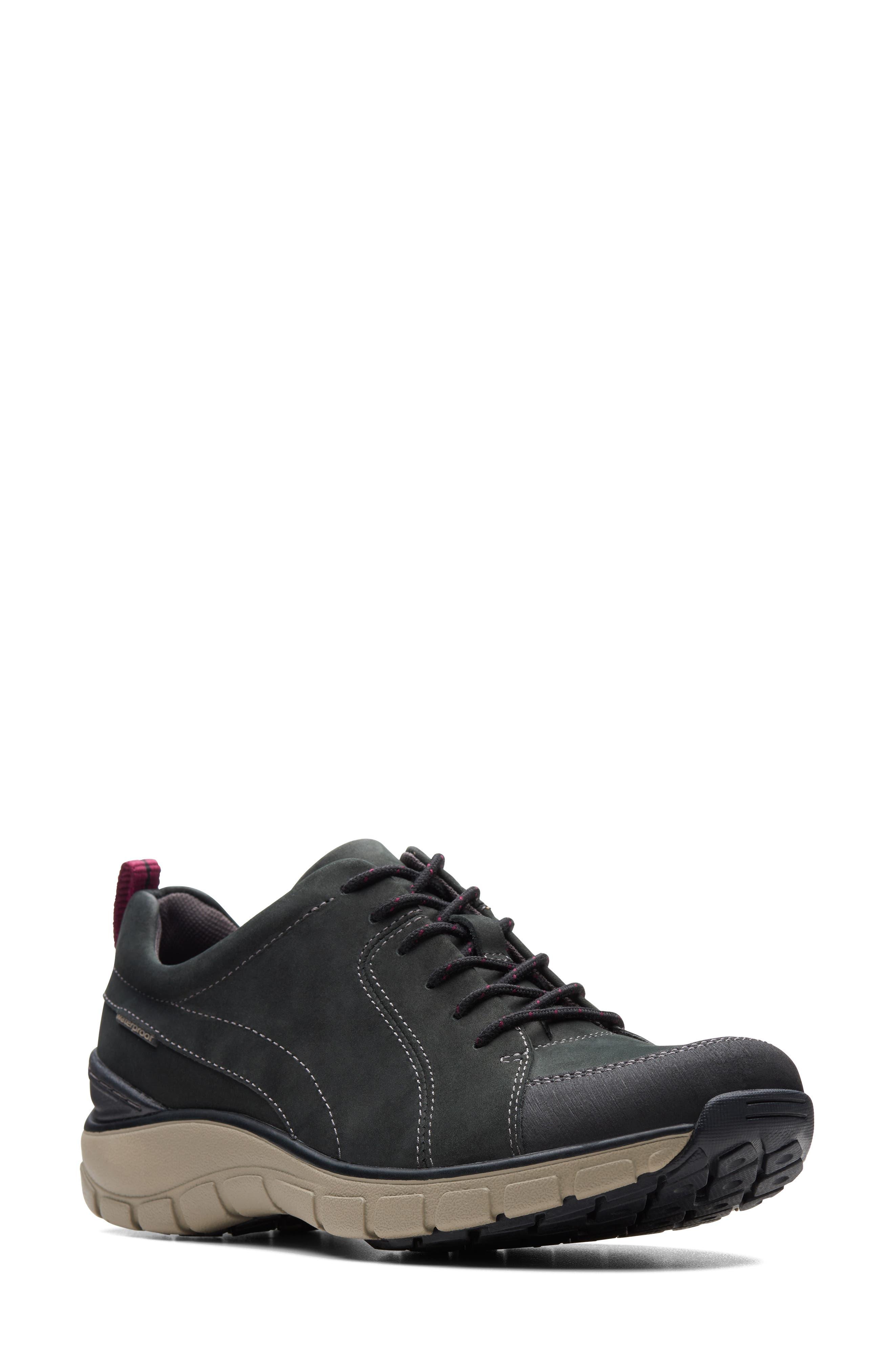,                             Wave Go Waterproof Sneaker,                             Main thumbnail 1, color,                             BLACK NUBUCK/ LEATHER COMBI