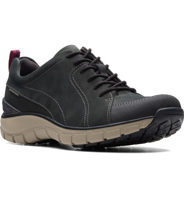 CLARKS<SUP>®</SUP> Wave Go Waterproof Sneaker, Main, color, BLACK NUBUCK/ LEATHER COMBI