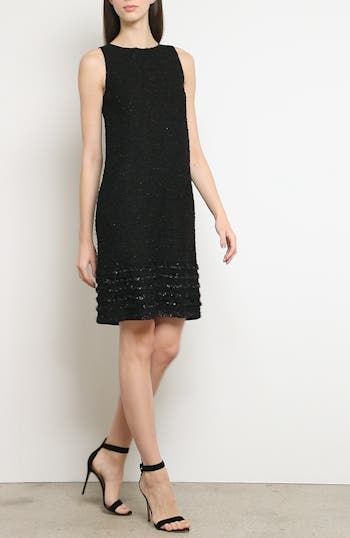 Glimmering Textured Tweed Shift Dress, video thumbnail