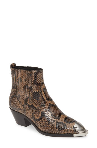 Ash Floyd Bootie In Python Print Taupe
