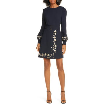 Ted Baker London Pearl Floral Long Sleeve Dress, (fits like 00 US) - Blue