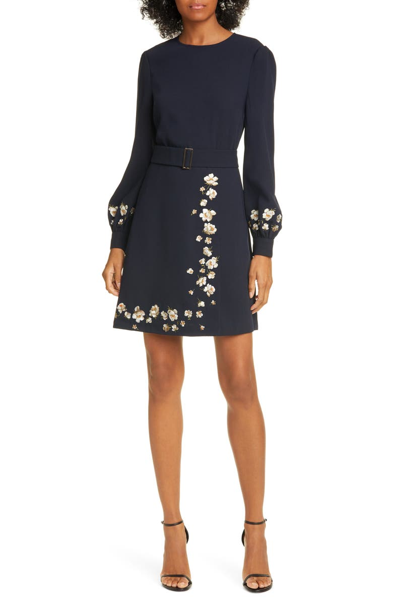 TED BAKER LONDON Pearl Floral Long Sleeve Dress, Main, color, NAVY