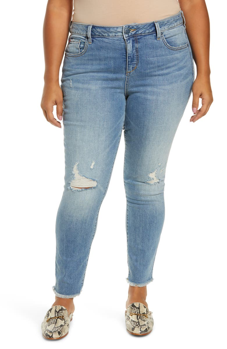 SLINK JEANS High Waist Fray Hem Ankle Jeans, Main, color, CLAIRE
