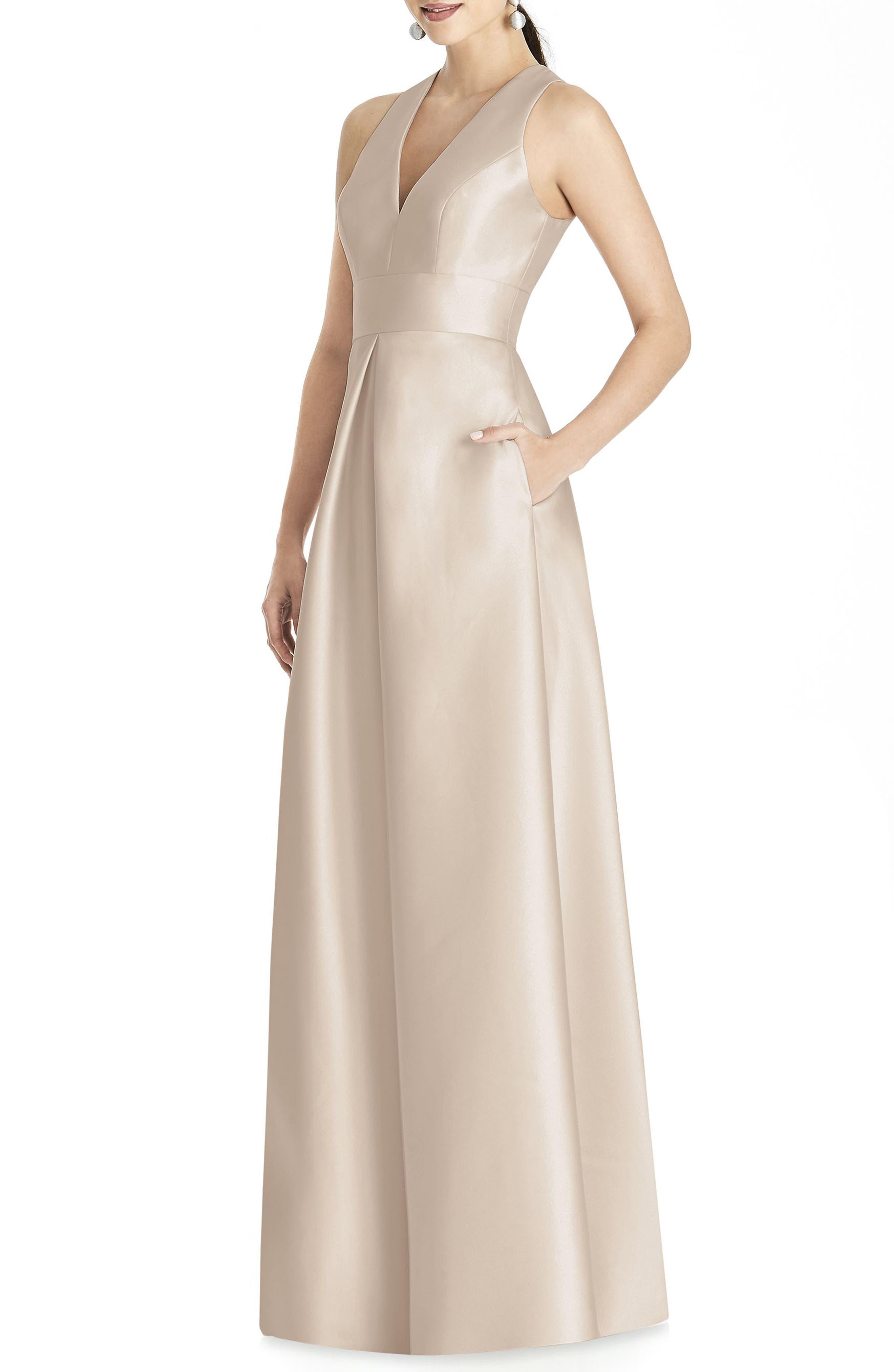 Alfred Sung Sleeveless Sateen Gown, Beige