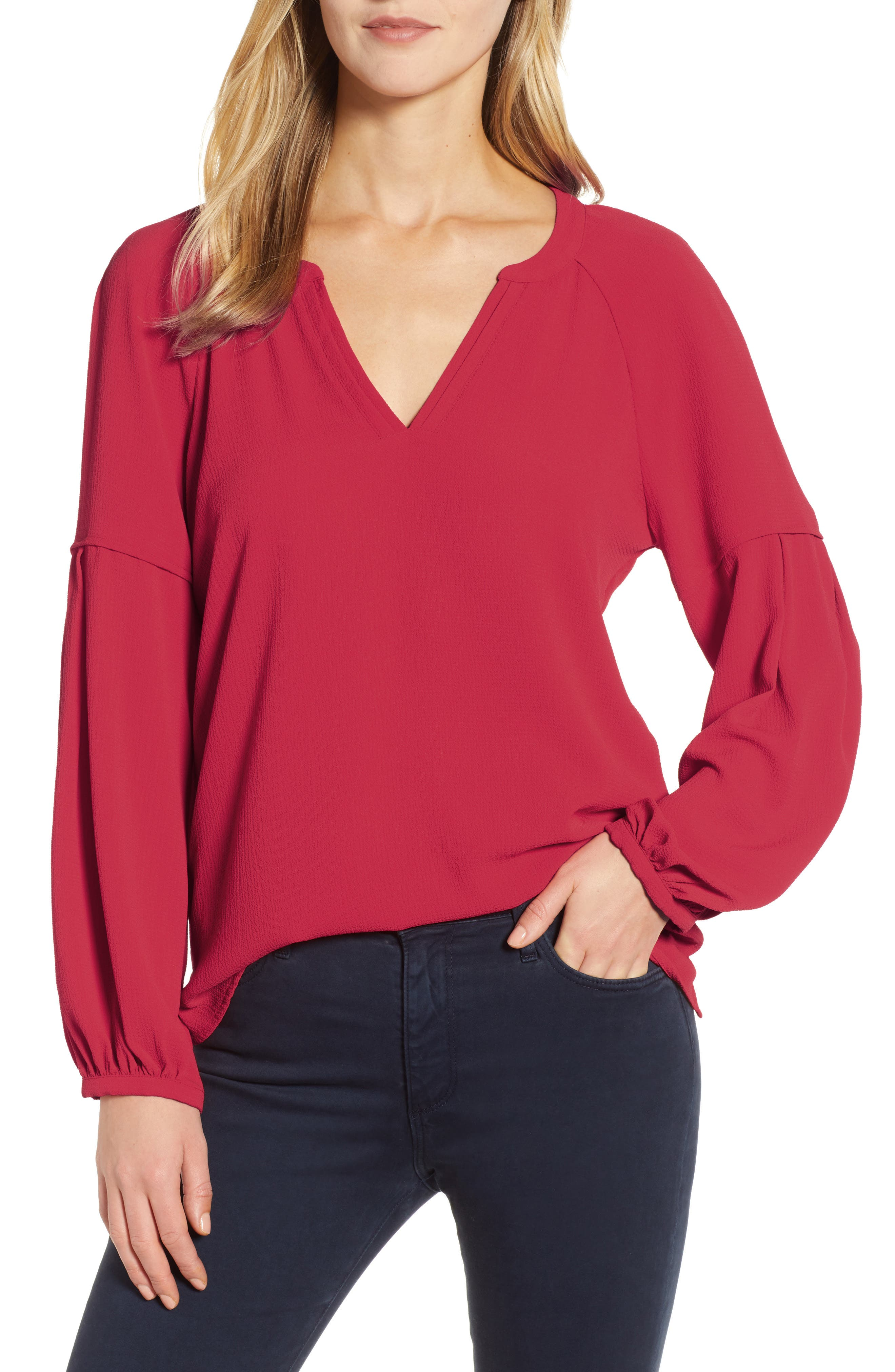 ,                             Bubble Sleeve Crepe Blouse,                             Main thumbnail 1, color,                             TROPICAL RED