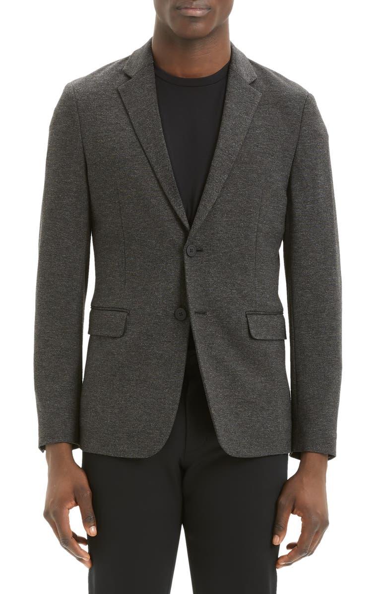 THEORY Clinton Marled Ponte Sport Coat, Main, color, DARK CHARCOAL MELANGE
