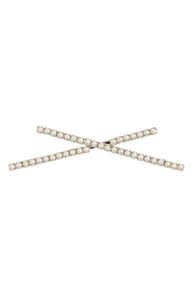 LELET NY X Imitation Pearl Bobby Pin, Main, color, SILVER