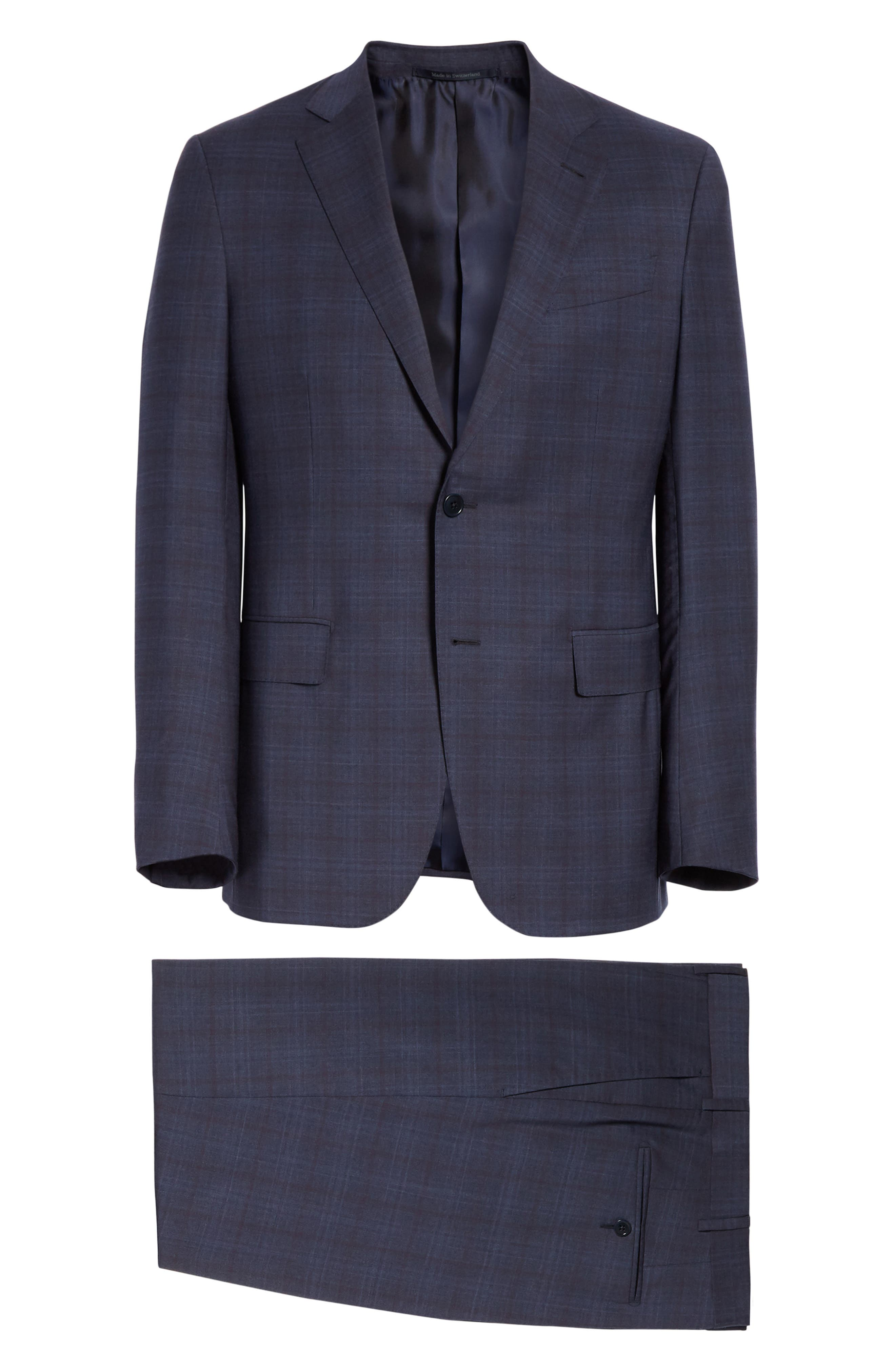 ,                             Milano Classic Fit Plaid Wool Suit,                             Alternate thumbnail 8, color,                             NAVY