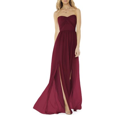 Social Bridesmaids Strapless Georgette Gown, Burgundy
