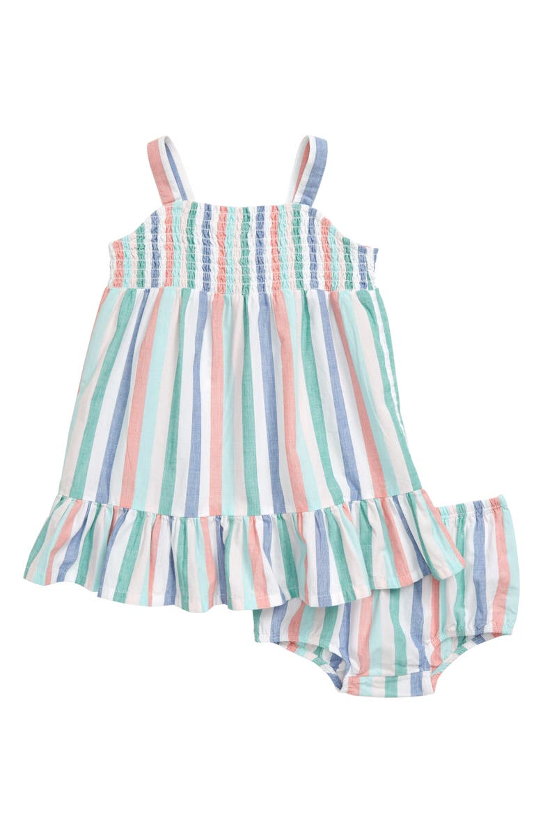 TUCKER + TATE Rainbow Stripe Smocked Dress, Main, color, WHITE- MULTI VERTICAL STRIPE