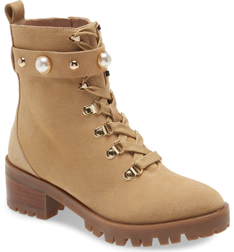 KARL LAGERFELD PARIS Perry Hiking Boot, Main, color, SAND SUEDE