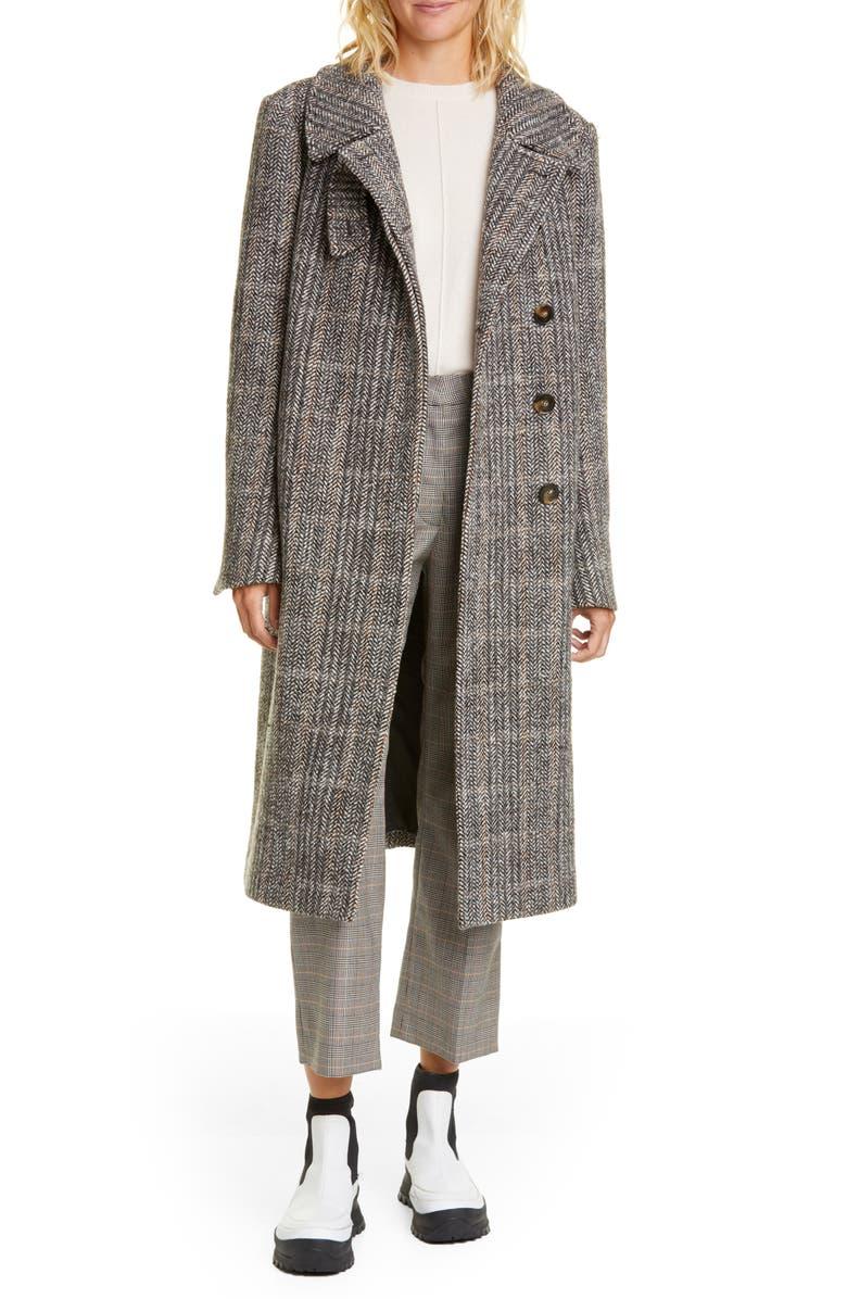 STELLA MCCARTNEY Herringbone Tweed Coat, Main, color, BLACK