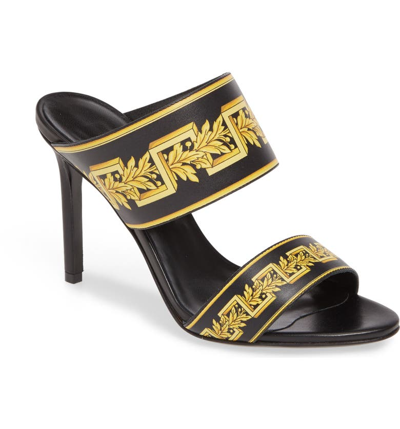 VERSACE Greca Sandal, Main, color, BLACK/ GOLD