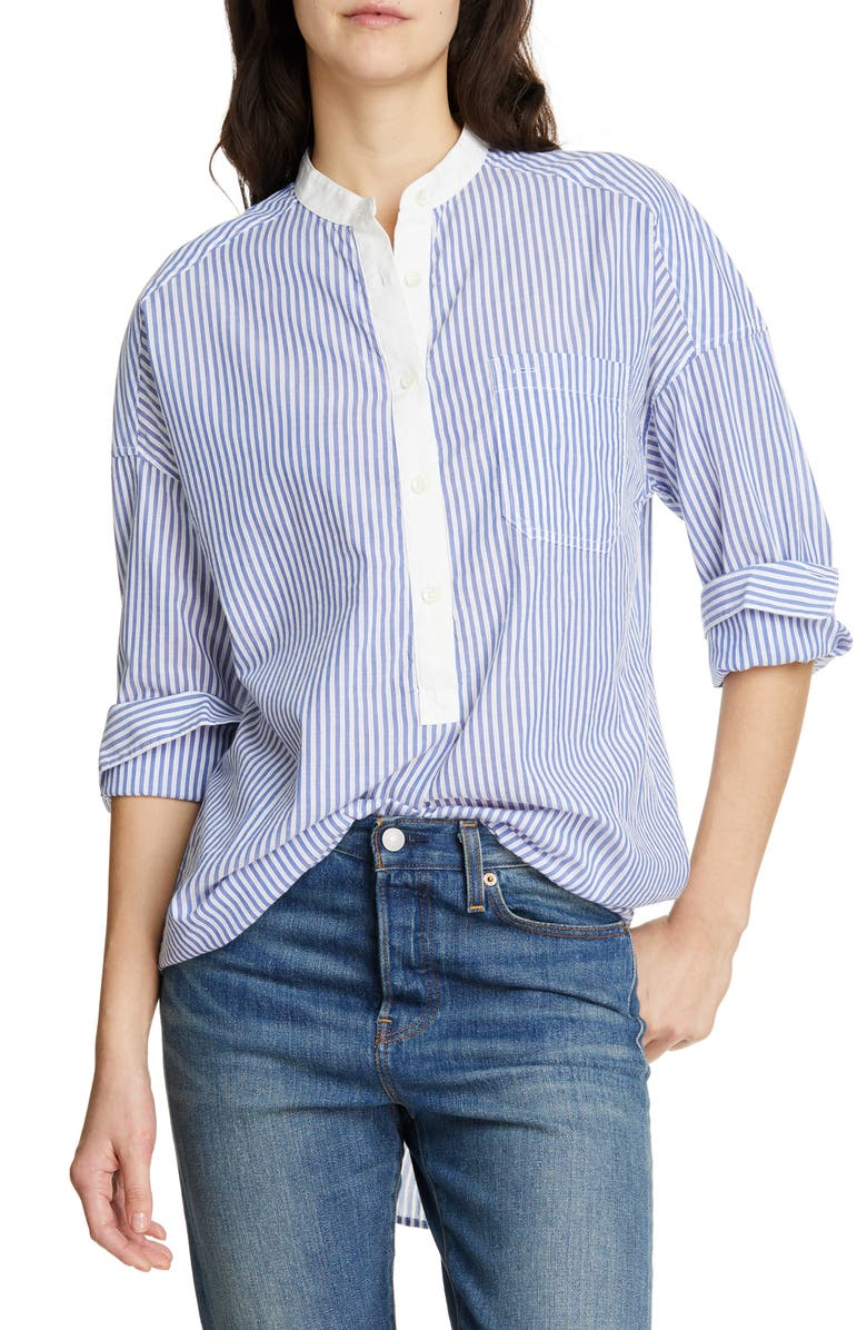ALEX MILL Stripe Shirttail Tunic, Main, color, BLUE