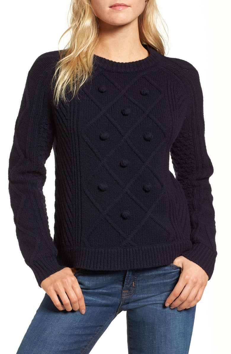 J.CREW Merino Wool Cable Pompom Sweater, Main, color, 402