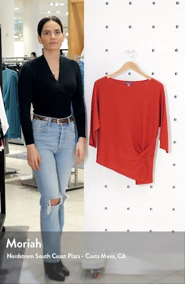 Twist Dolman Sleeve Ribbed Asymmetrical Top, sales video thumbnail