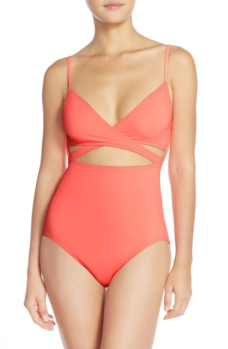 6c3397f20adaa Vince Camuto 'Polish Solids' Wrap Front One-Piece Swimsuit | Nordstrom