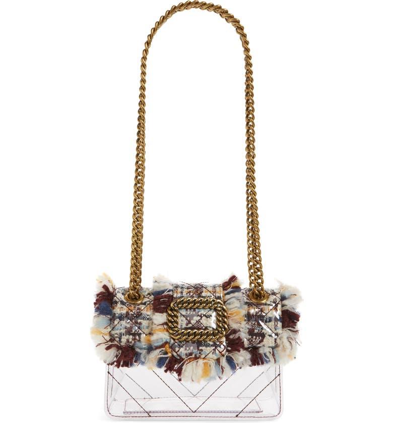 KURT GEIGER LONDON Mini Mayfair Tweed Clear Crossbody Bag, Main, color, 100