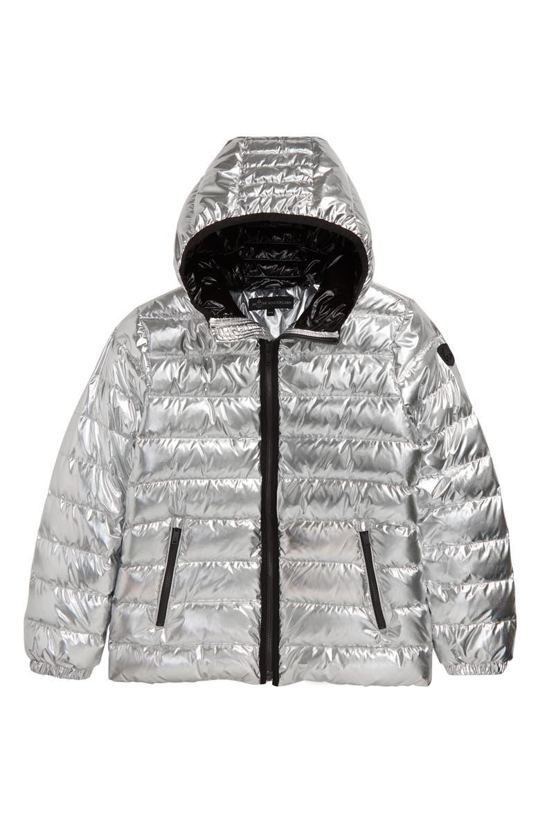 MOOSE KNUCKLES Olser Metallic Channel Quilted Hooded Jacket, Main, color, SILVER