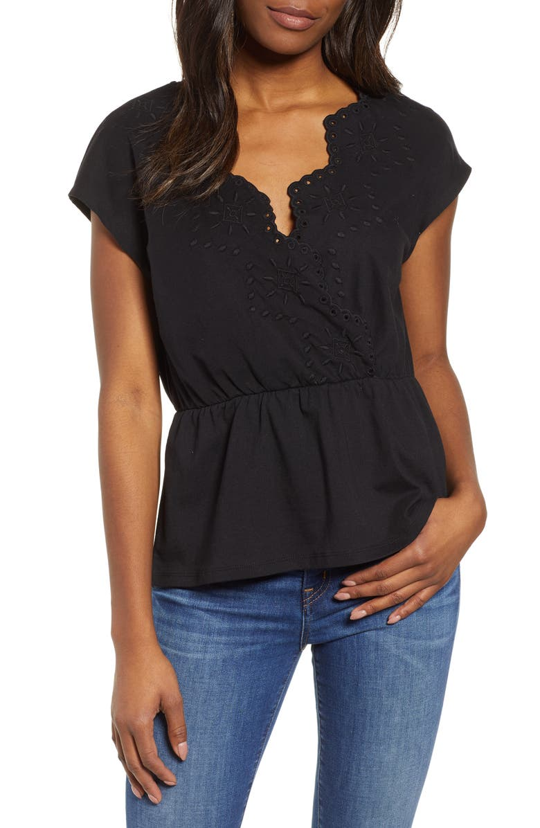 Embroidered Peplum Top by Caslon®