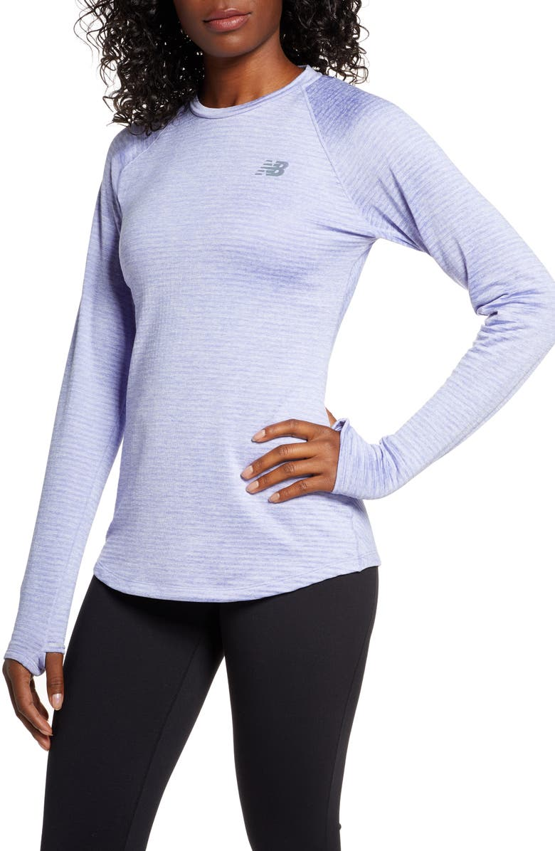 NEW BALANCE Impact Run Grid Crew Top, Main, color, CLEAR AMETHYST HEATHER