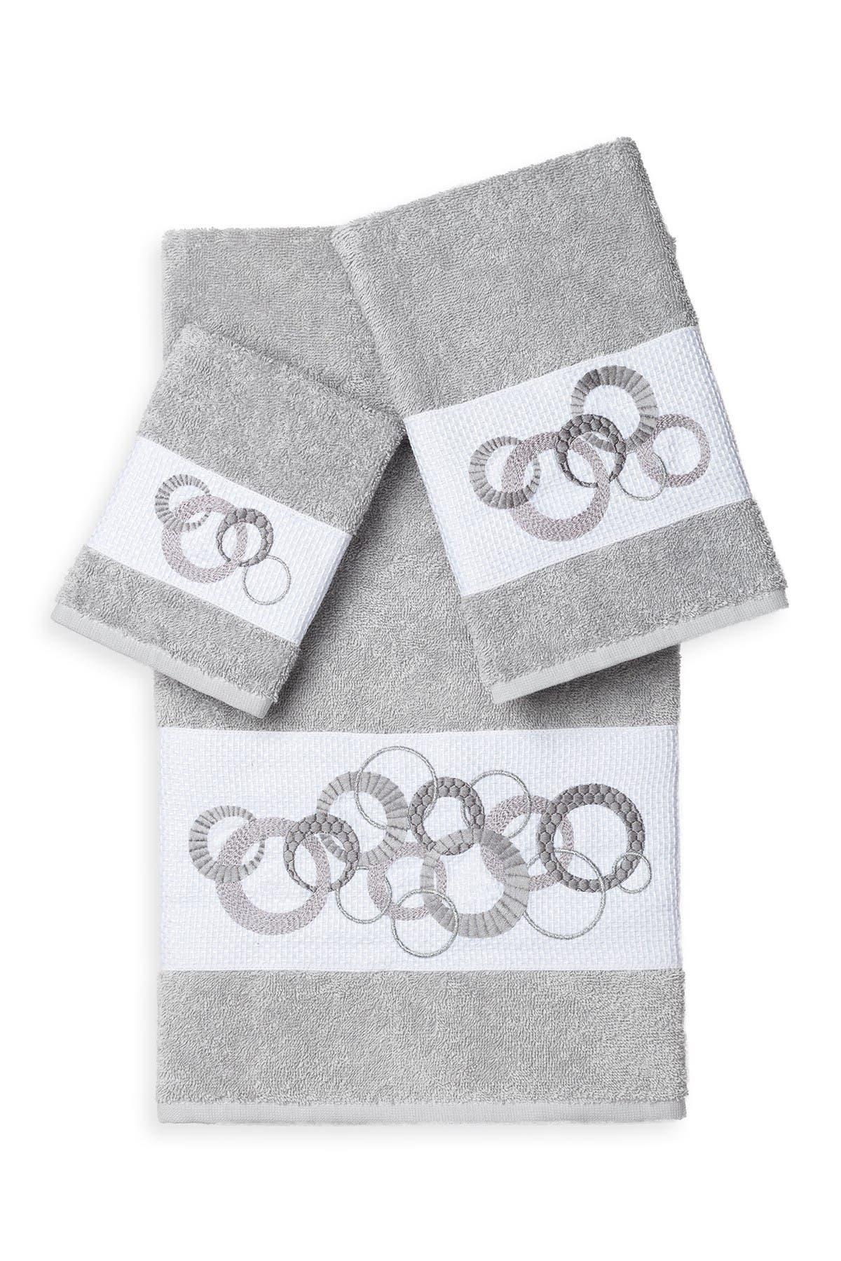 Image of LINUM TOWELS Annabelle 3-Piece Embellished Towel Set - Light Grey