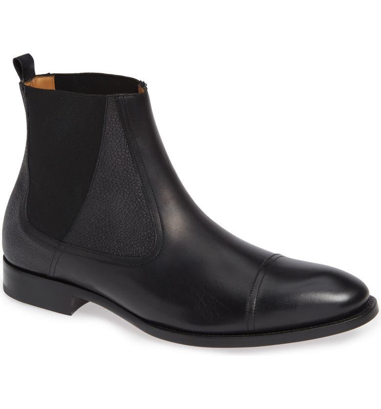 MEZLAN Higgins Cap Toe Chelsea Boot, Main, color, 001