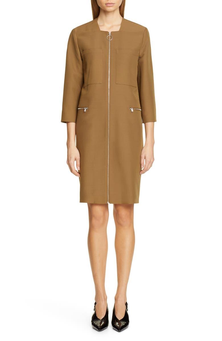 PARTOW Jaden Zip Front Dress, Main, color, CARAMEL