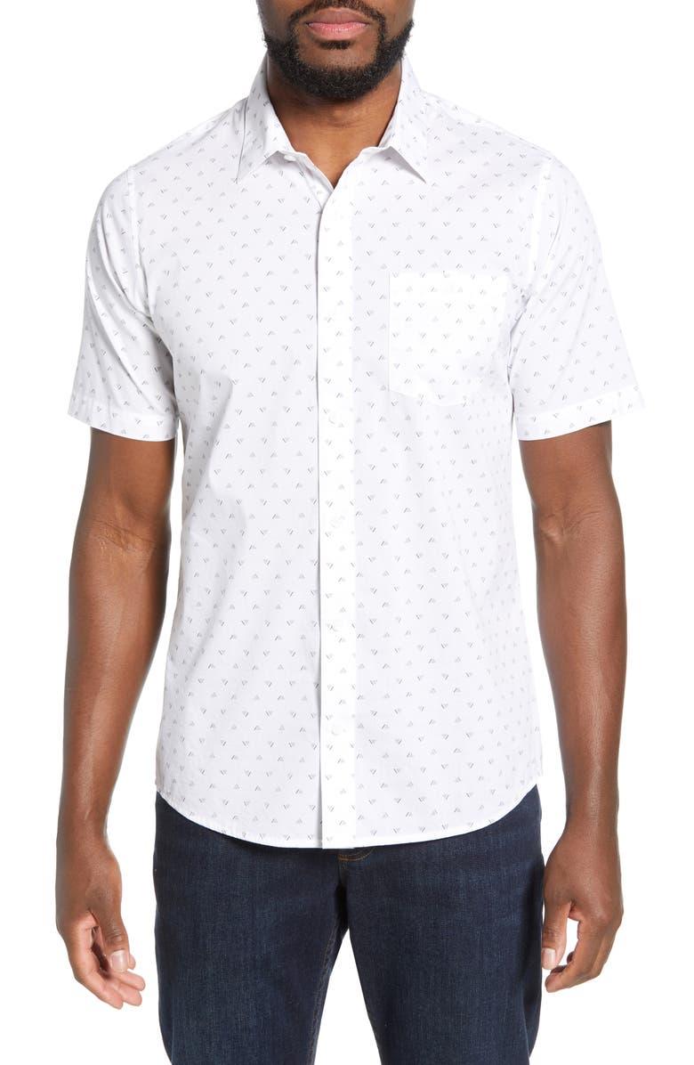 TRAVISMATHEW Cassette Regular Fit Print Sport Shirt, Main, color, 100