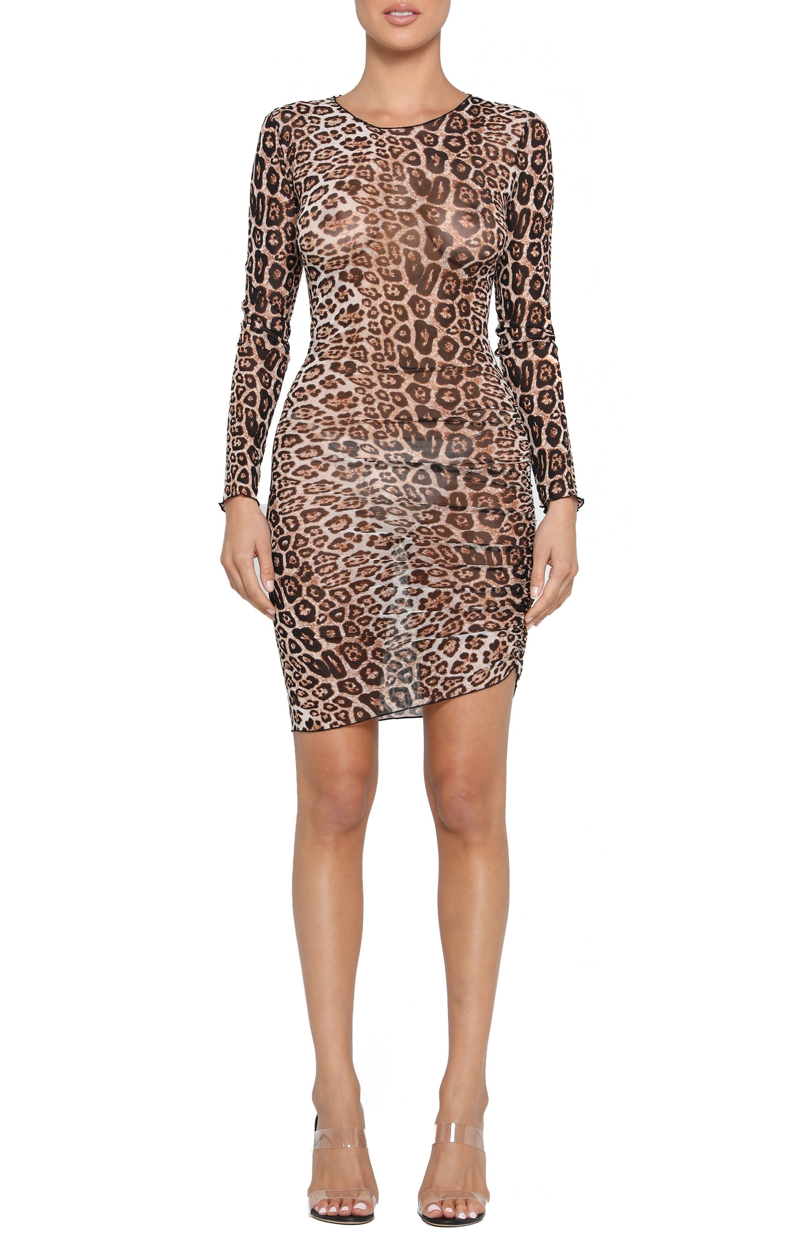 Tiger Mist Aarya Sheer Leopard Print Long Sleeve Body-Con Dress, Brown