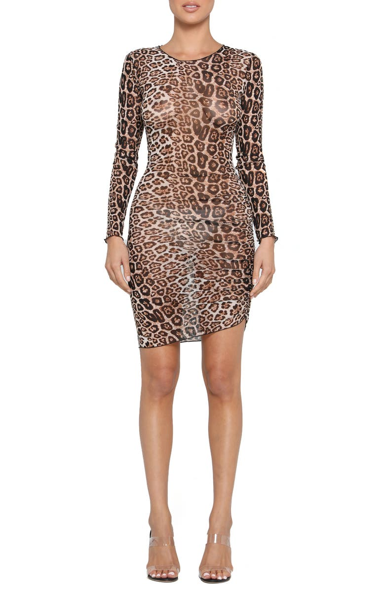 TIGER MIST Aarya Sheer Leopard Print Long Sleeve Body-Con Dress, Main, color, 200