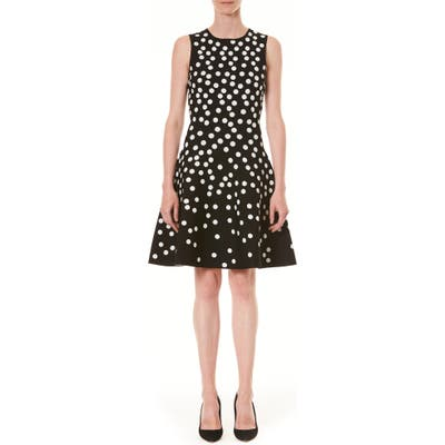 Carolina Herrera Polka Dot Jacquard Fit & Flare Sweater Dress, Black