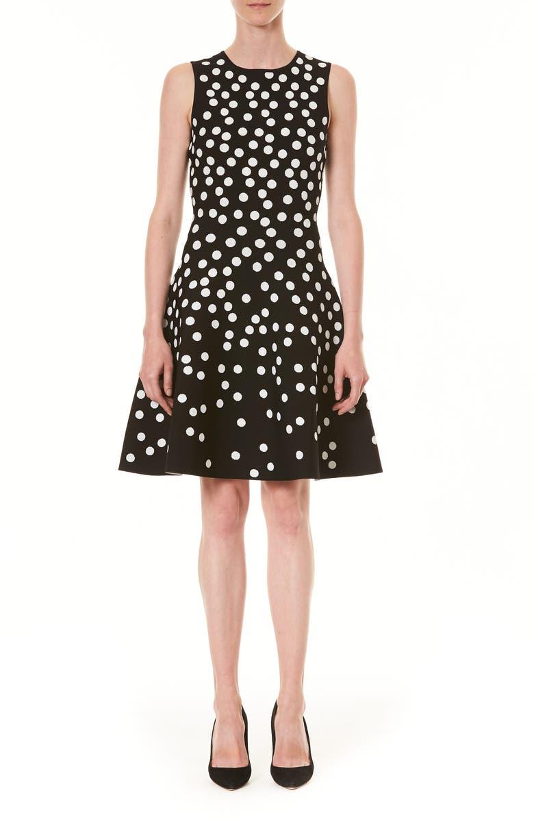 CAROLINA HERRERA Polka Dot Jacquard Fit & Flare Sweater Dress, Main, color, BLACK MULTI