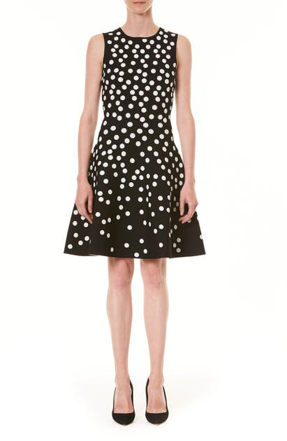 Carolina Herrera Dresses POLKA DOT JACQUARD FIT & FLARE SWEATER DRESS