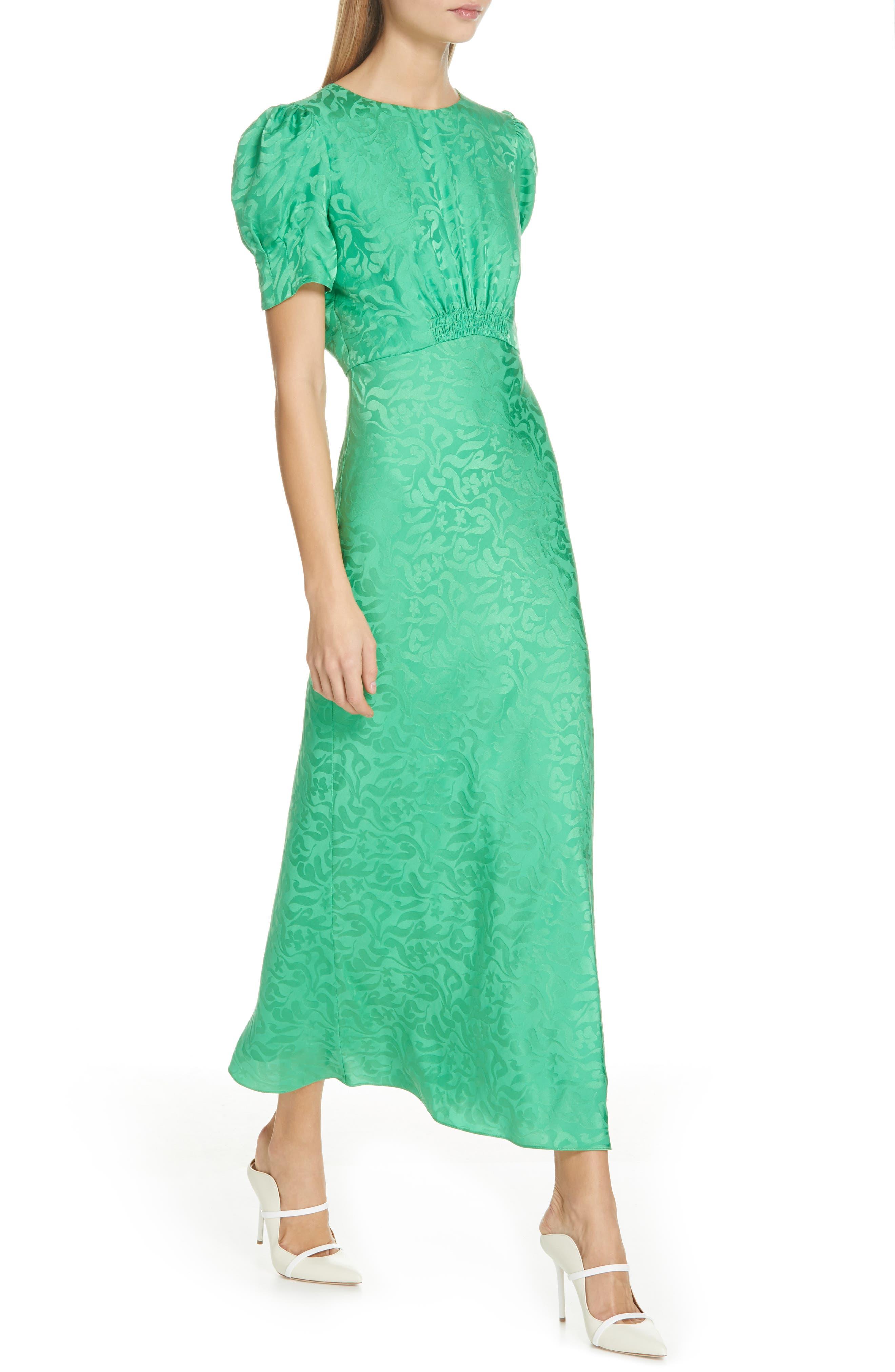 ,                             Bianca Puff Sleeve Silk Midi Dress,                             Alternate thumbnail 4, color,                             LEAF GREEN