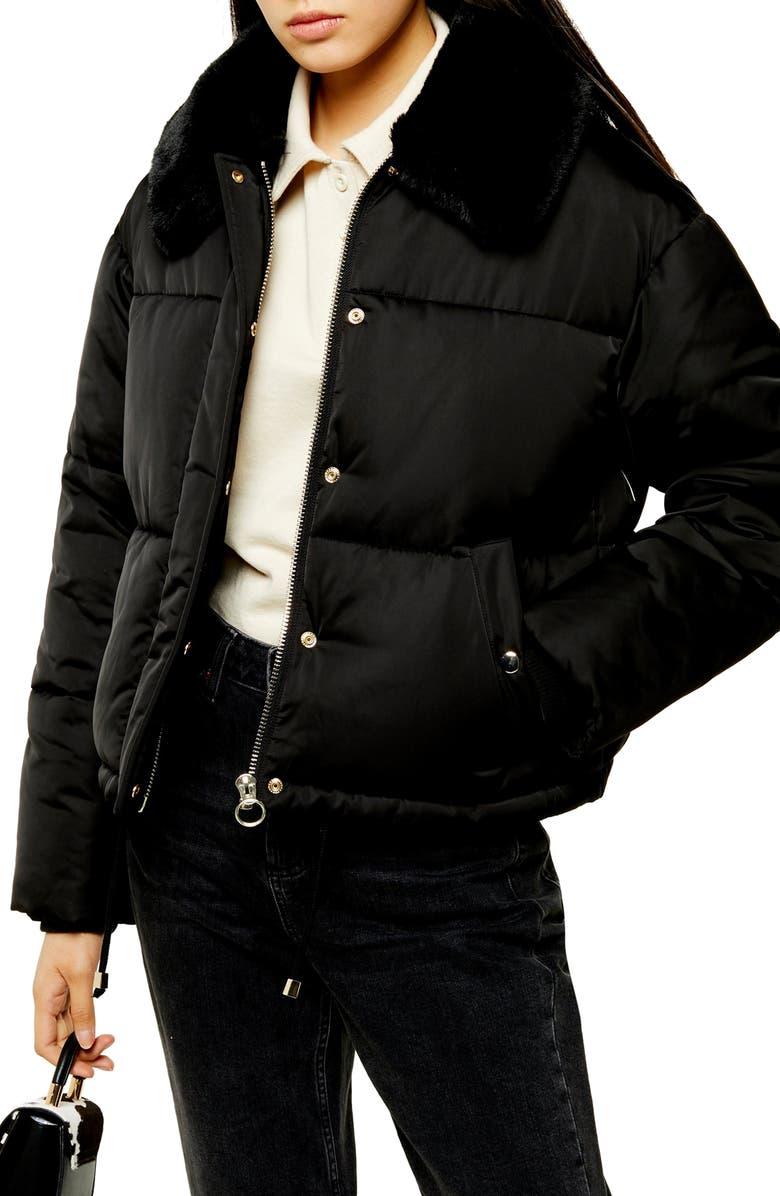 TOPSHOP Milo Faux Fur Collar Puffer Jacket, Main, color, BLACK