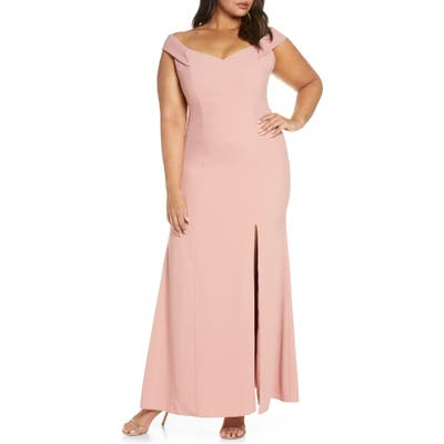 Plus Size Dessy Collection Off The Shoulder Crossback Gown, 0 (similar to 16W) - Pink