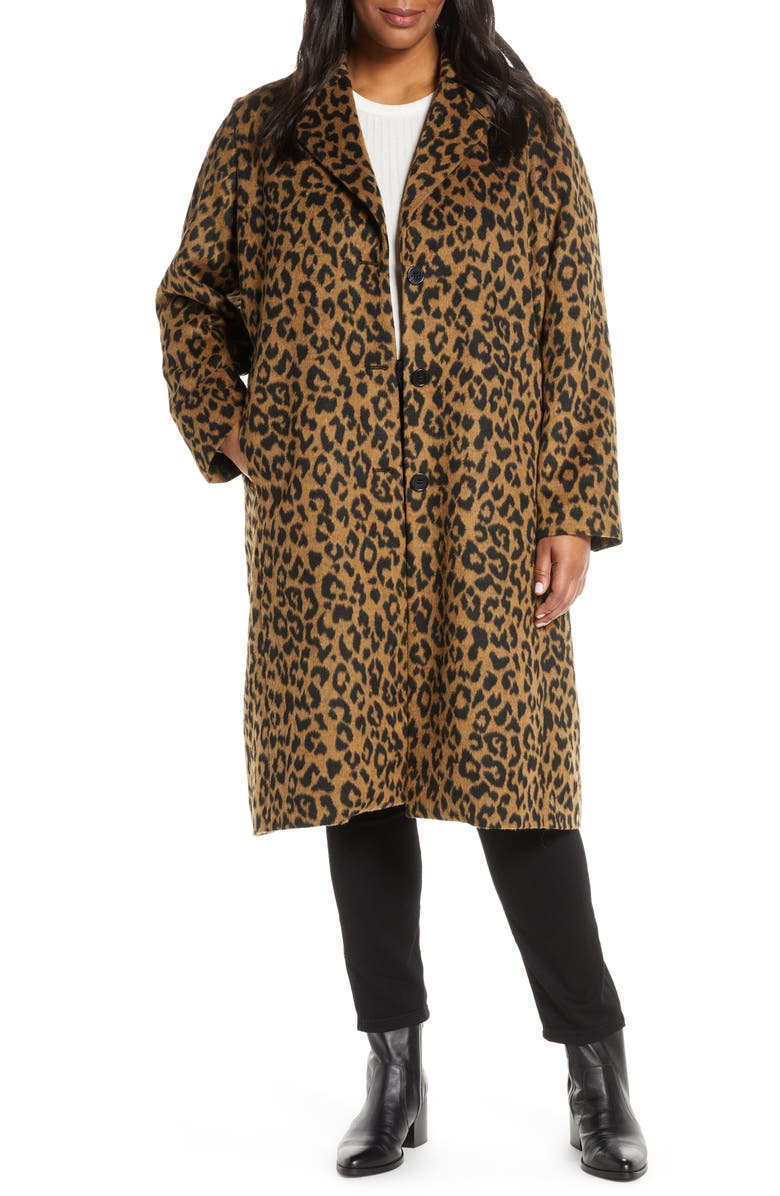BERNARDO Leopard Print Coat, Main, color, LEOPARD