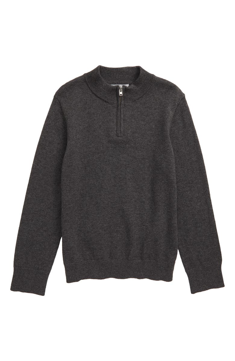 NORDSTROM Cotton & Cashmere Quarter Zip Pullover, Main, color, GREY CHARCOAL HEATHER