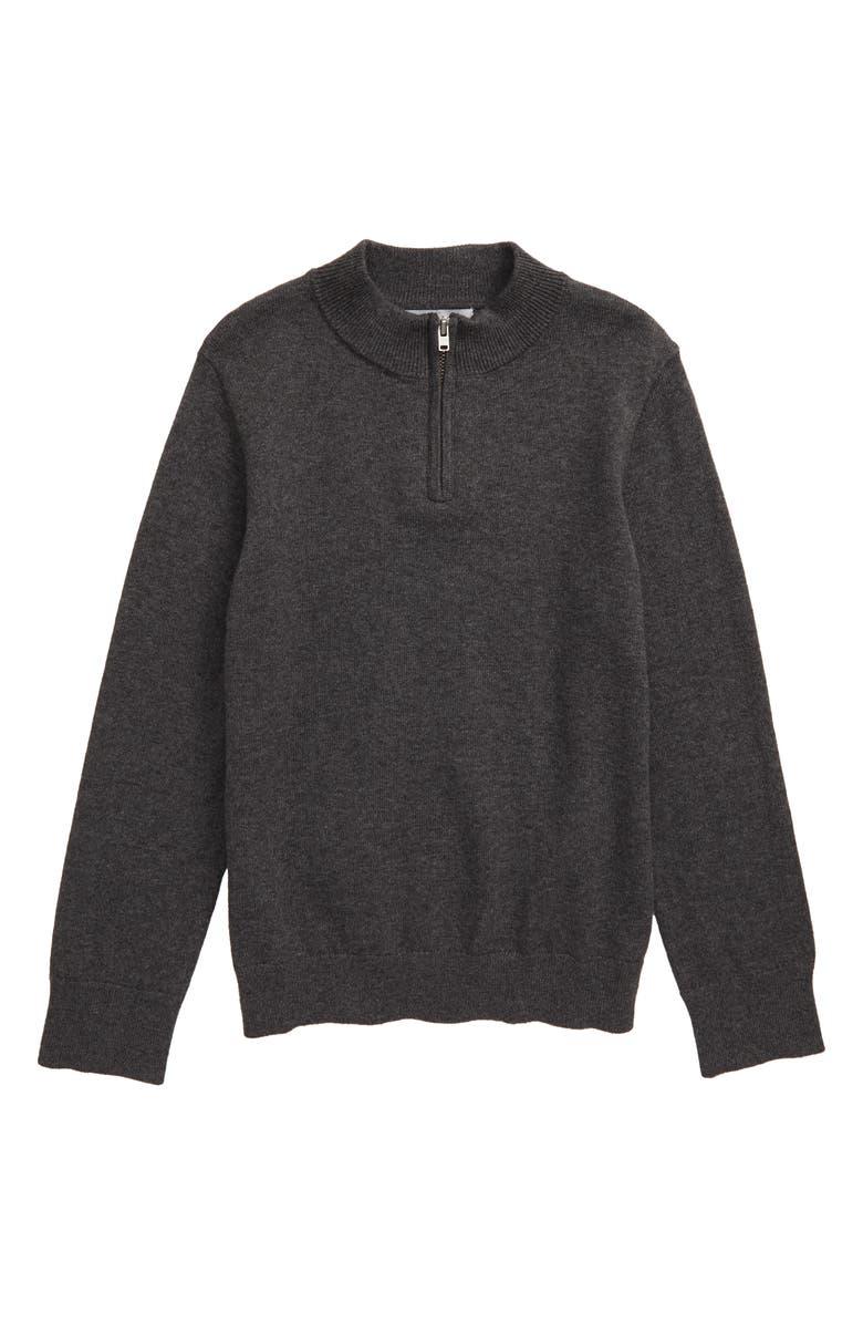NORDSTROM Cotton & Cashmere Quarter Zip Pullover, Main, color, 030