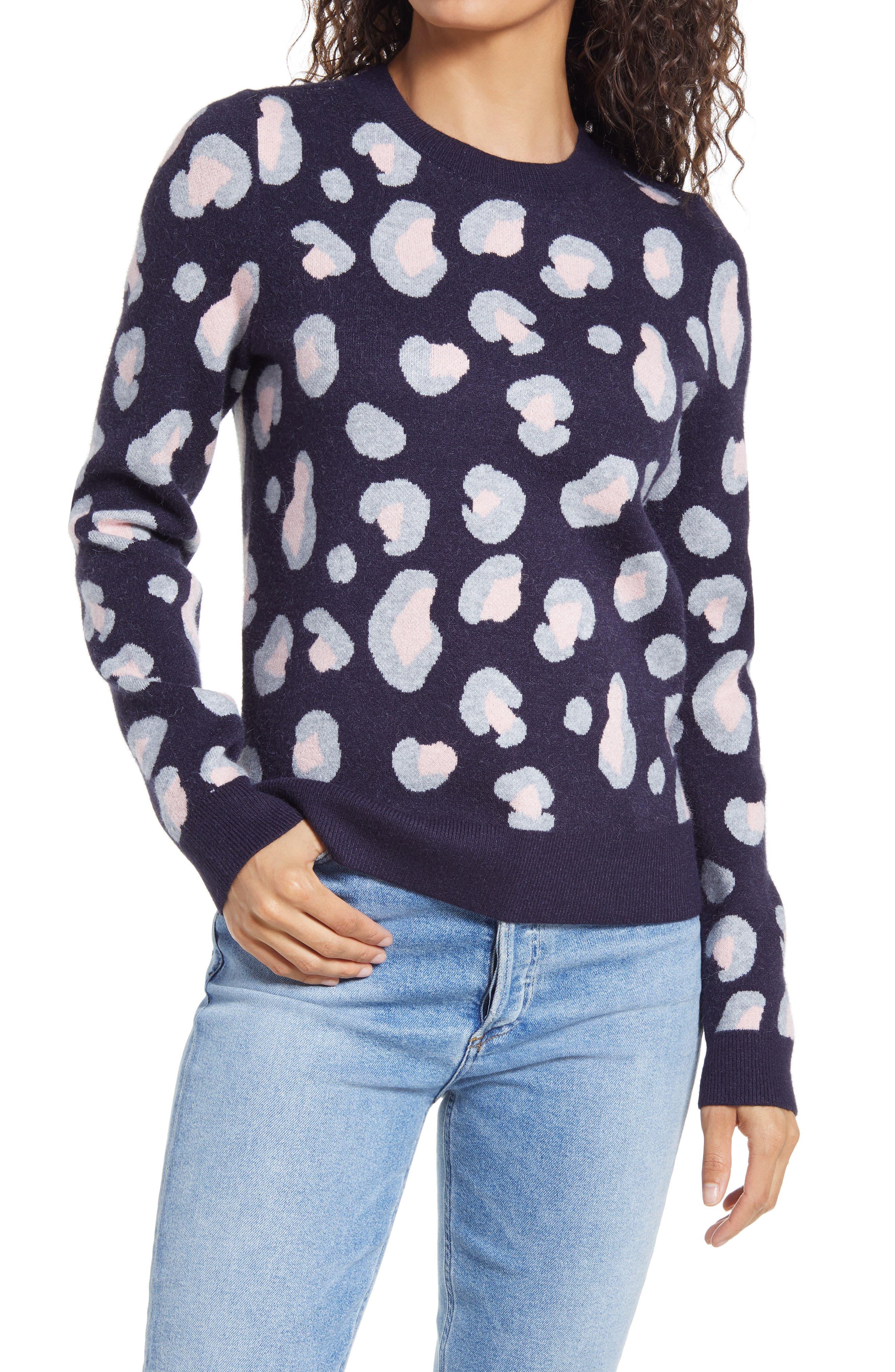 1901 Cheetah Pattern Crewneck Sweater   Nordstrom